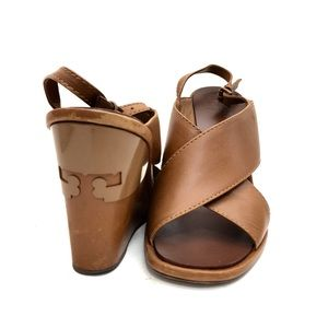 Tory Burch Cognac Leather Gabrielle Wedge Sandals